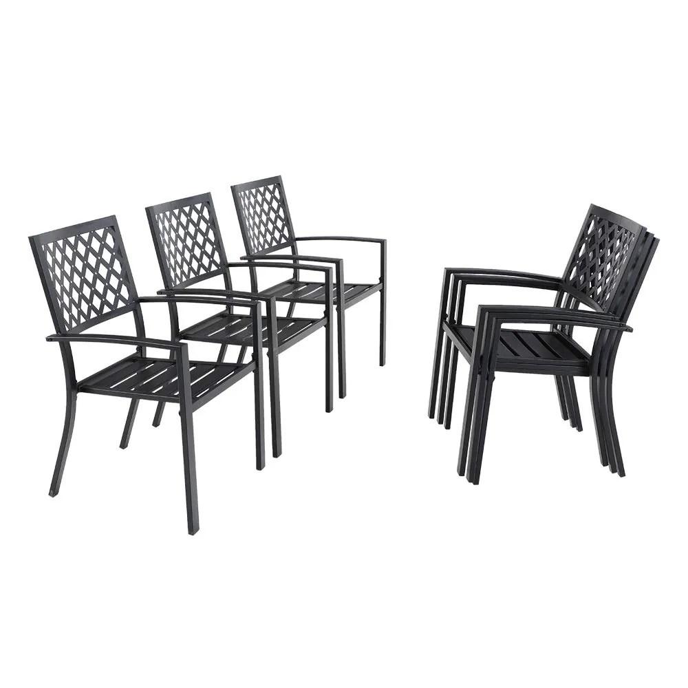phi villa 6 piece black metal outdoor furniture patio steel frame slat seat dining arm chairs