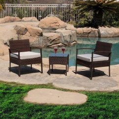 Two Seat Lawn Chairs Ergonomic Chair In Singapore Shop Belleze 3 Piece Patio Outdoor Rattan Set Wicker Furniture One Glass