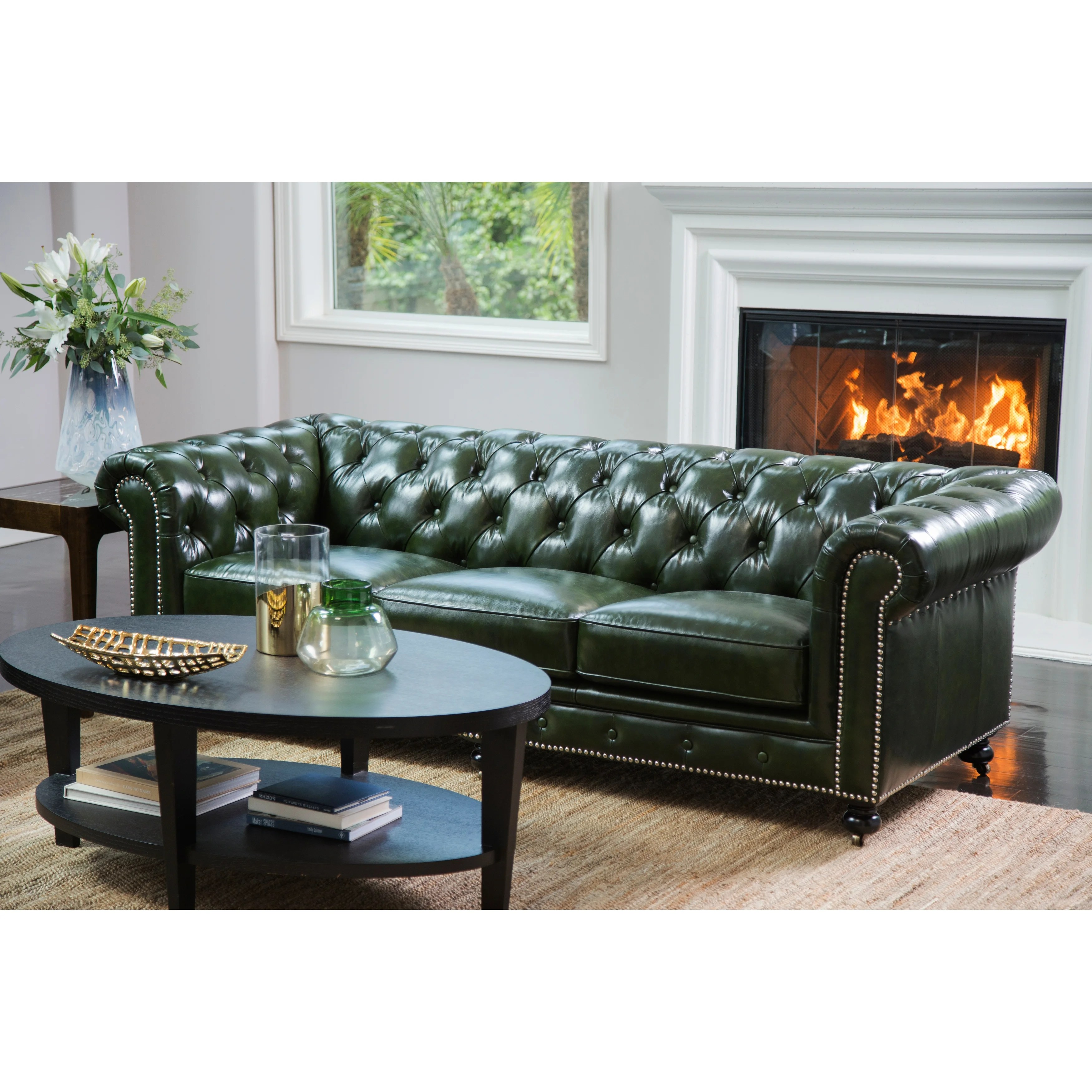 Abbyson Virginia Green Waxed Leather Chesterfield Sofa Overstock 18107892