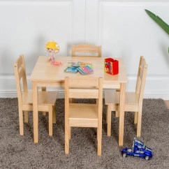Children Table And Chairs Wheelchair Foldable Shop Gymax Play Chair 5pcs Set Pine Wood Kids