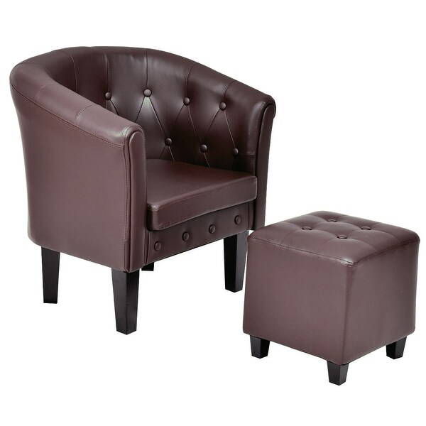 tub accent chair folding picnic chairs argos shop costway pu leather armchair barrel club seat tufted w cushion ottoman