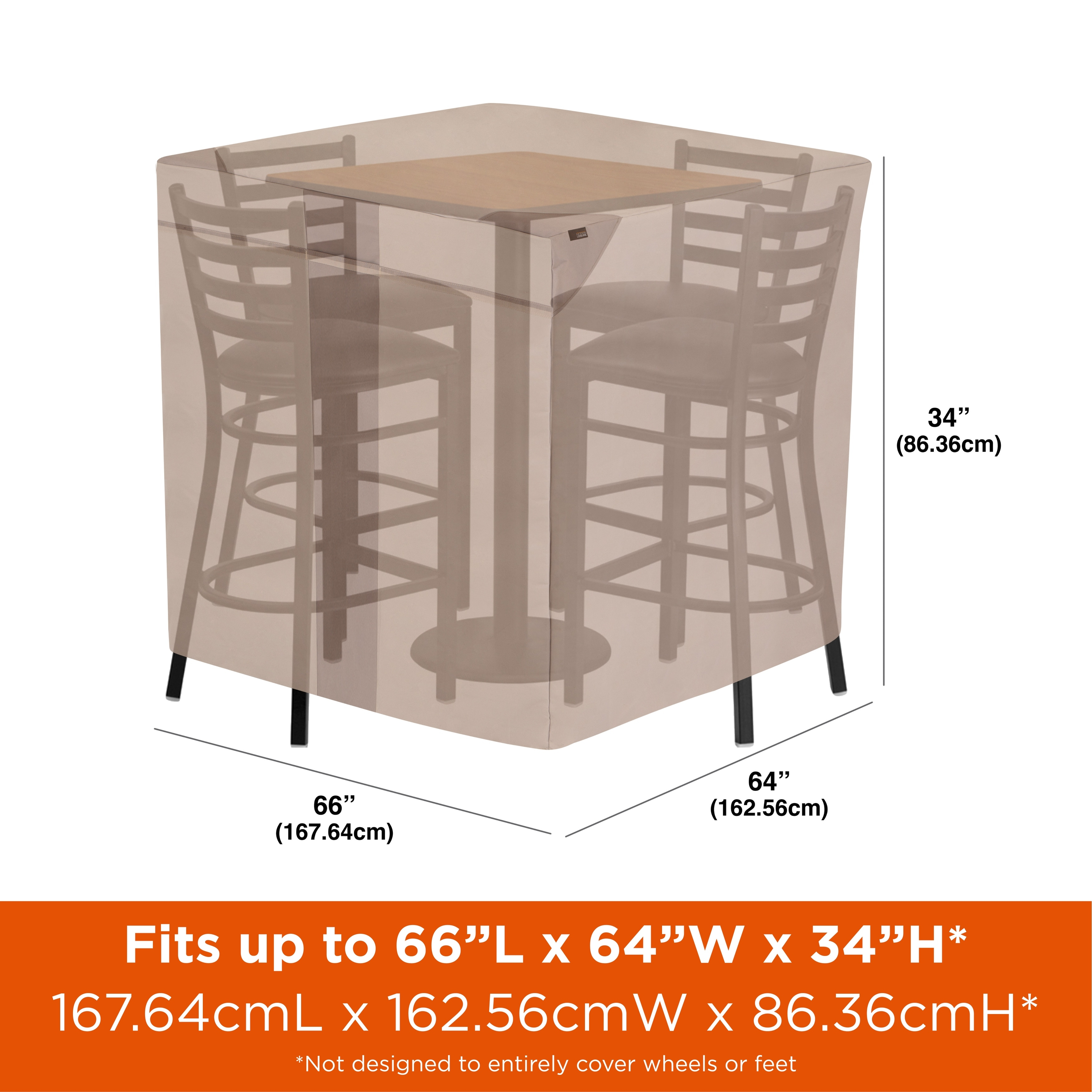 modern leisure monterey outdoor patio table chairs cover square bar height 64 d x 66 w x 34 h beige
