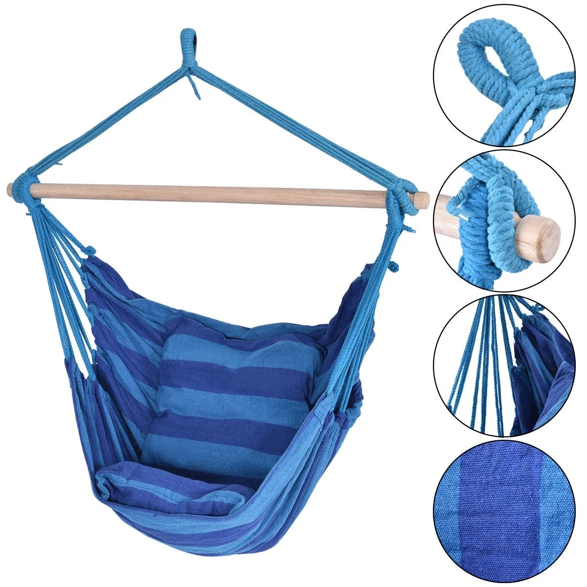 hanging chair home goods lazy boy gaming uk garden patio sale shop our best deals costway hammock rope porch yard tree air swing outdoor blue