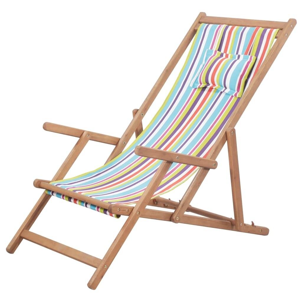 vidaxl folding beach chair fabric wood
