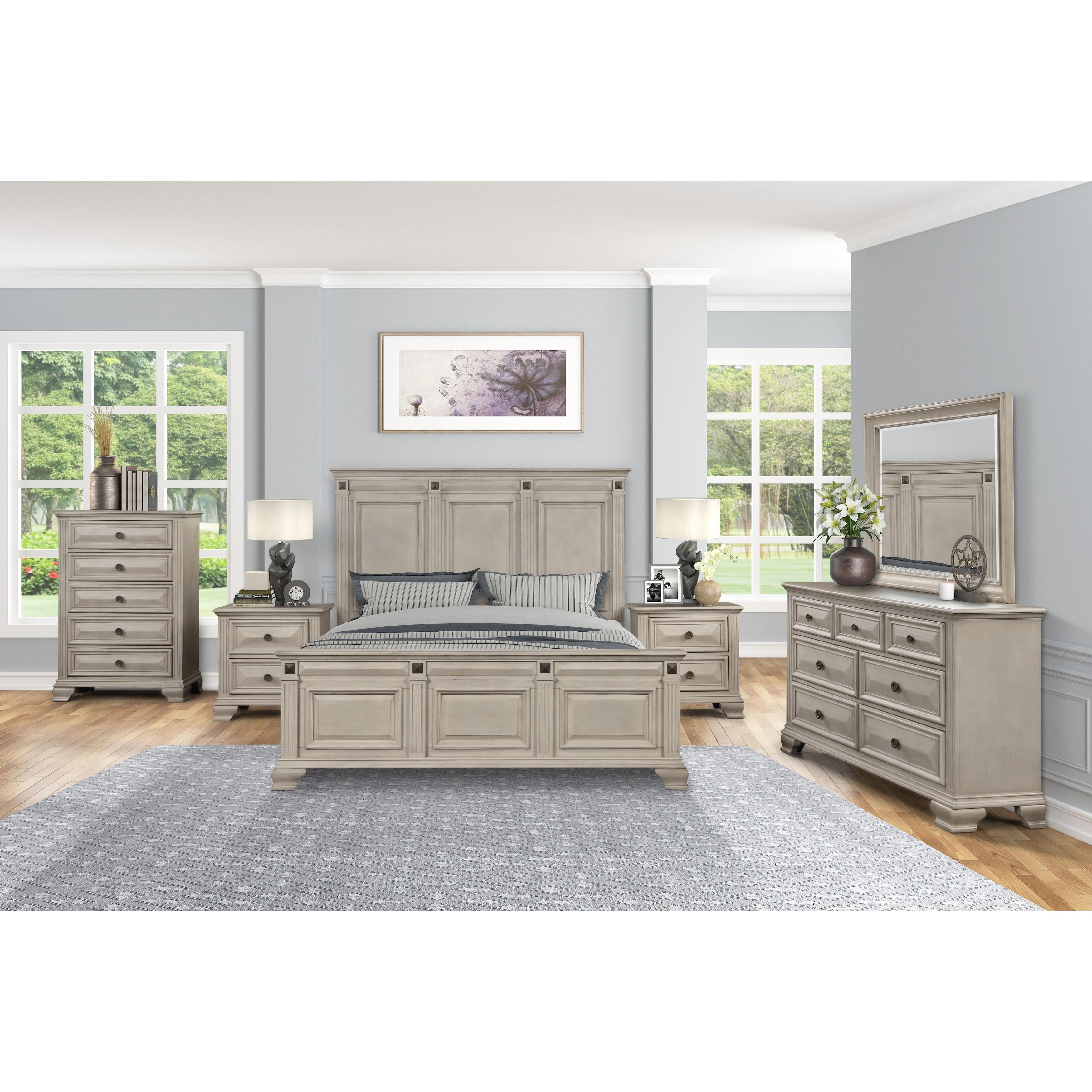 renova distressed parchment wood bedroom set