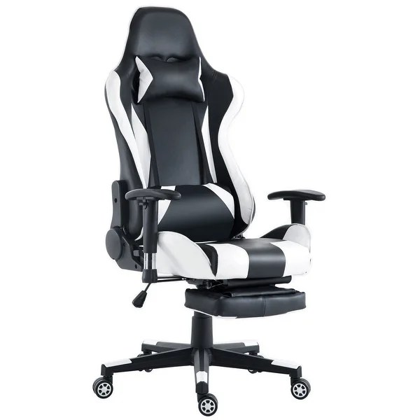 reclining office chair with footrest india folding menards shop costway gaming high back racing recliner w lumbar support amp