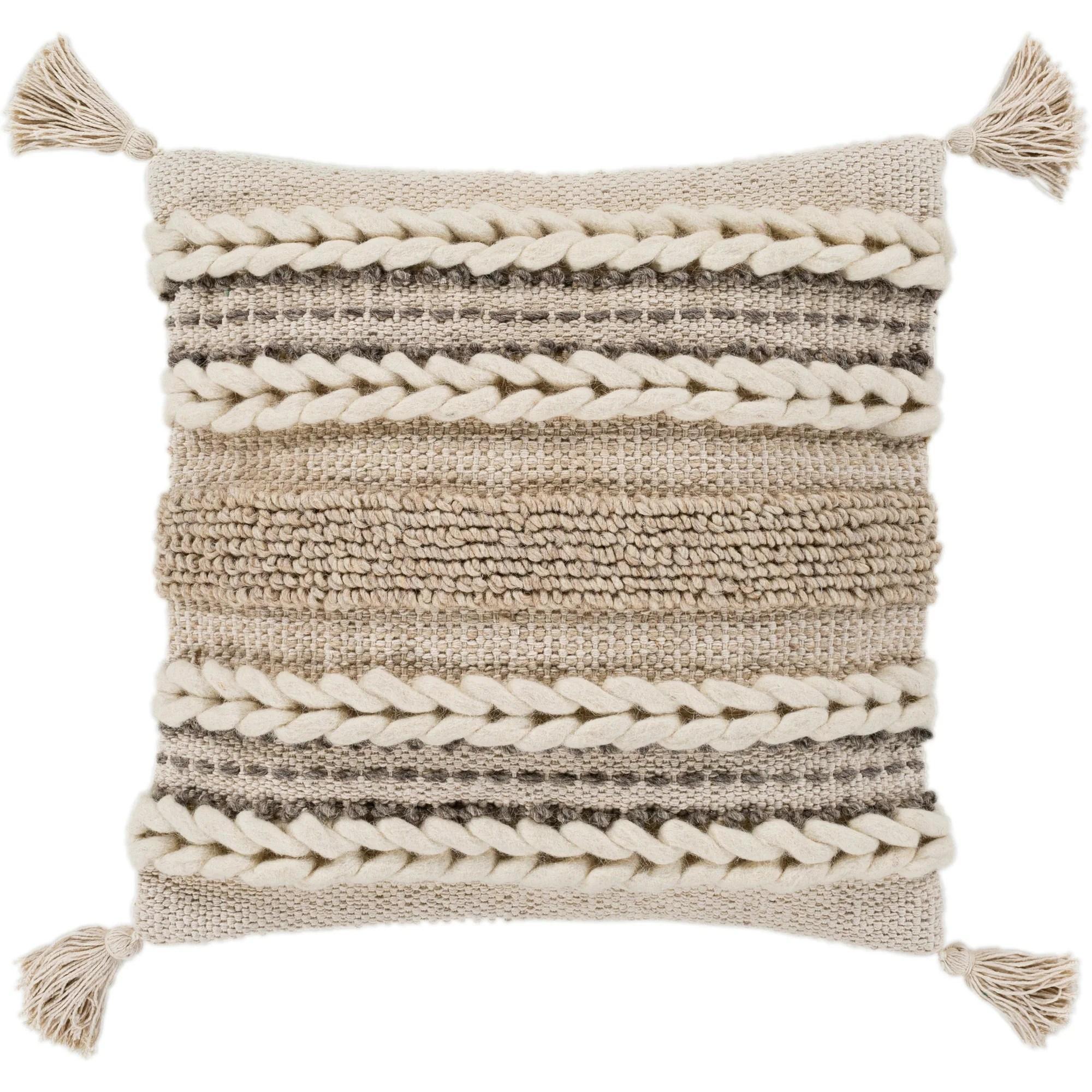 goa taupe bohemian tassel wool throw pillow cover 20 x 20