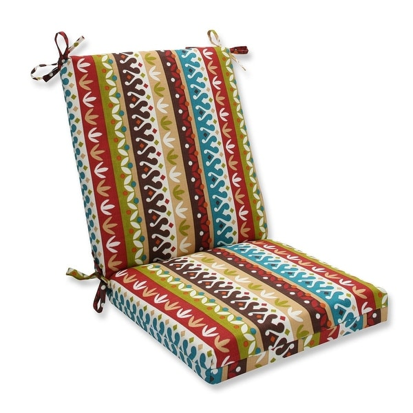 wicker chair cushions with ties faux leather club and ottoman shop 36 5 bohemian striped outdoor patio cushion brown