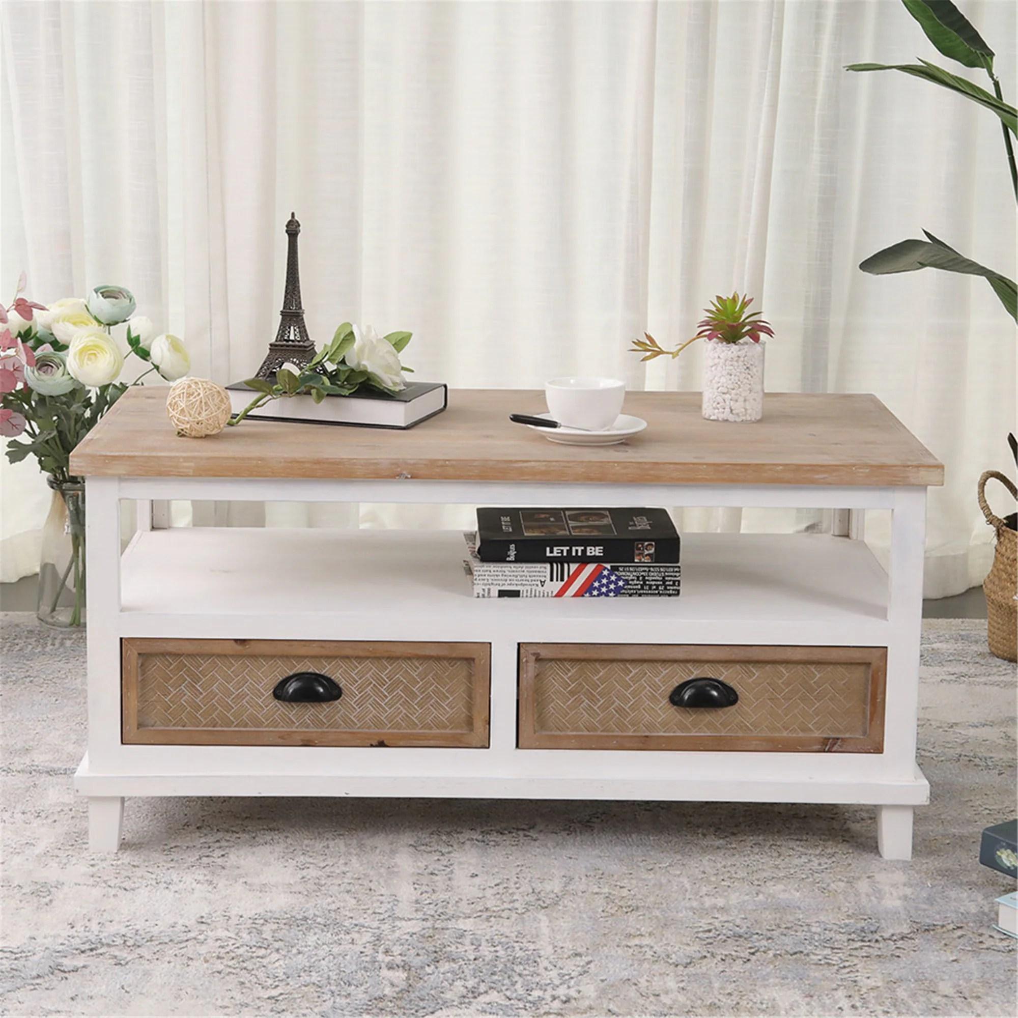 celipu farmhouse white square coffee table with storage