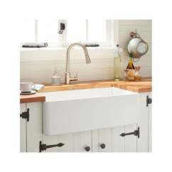 Kitchen Sink White Portable Islands With Seating Shop Signature Hardware 393675 Reinhard 30 Farmhouse Single Basin Fireclay N