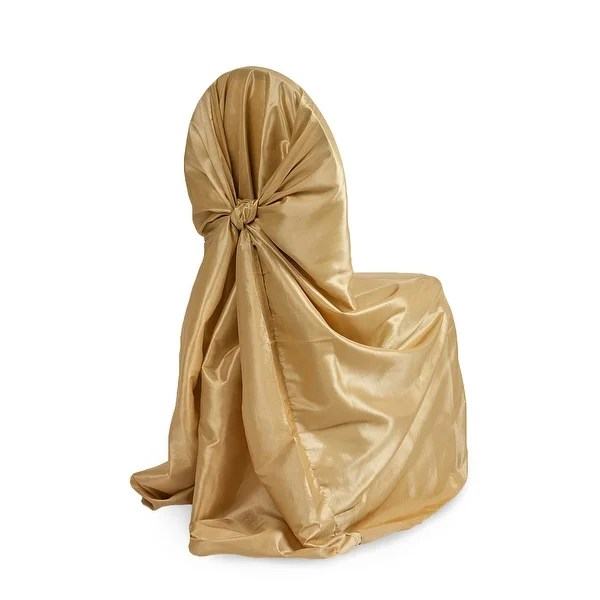 gold universal chair covers pads kitchen shop taffeta self tie cover approx 55 w x 47 l