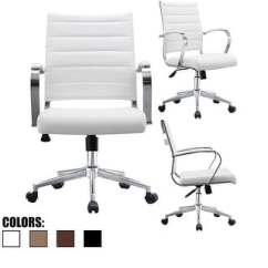 Modern White Desk Chair Under Tray Table Buy Office Conference Room Chairs Online At Overstock Com 2xhome Mid Back Ribbed Pu Leather Tilt Work Manager Task