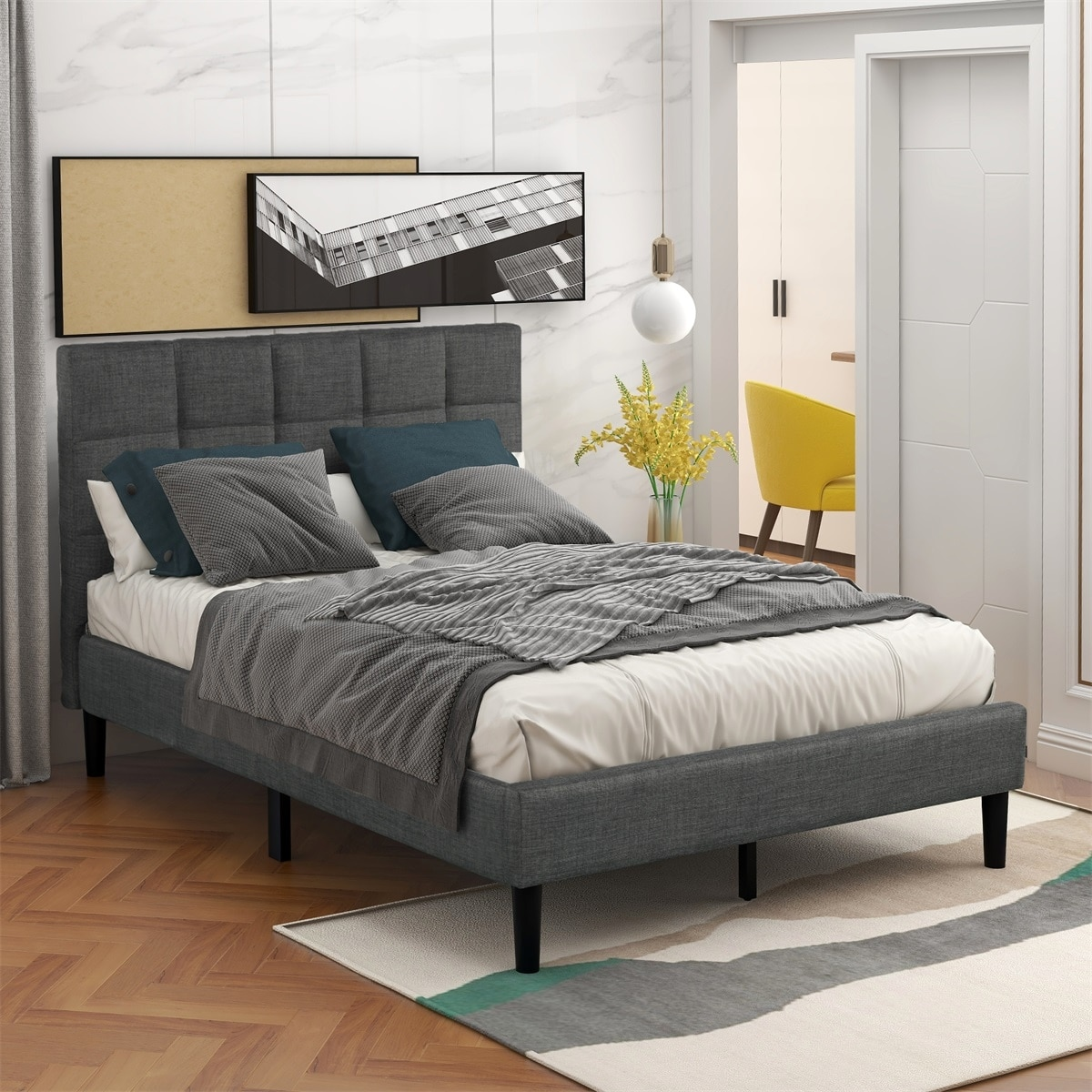 Shop Black Friday Deals On Merax Twin Size Diamond Stitched Upholstered Platform Bed With Headboard No Box Spring Needed Overstock 31825474
