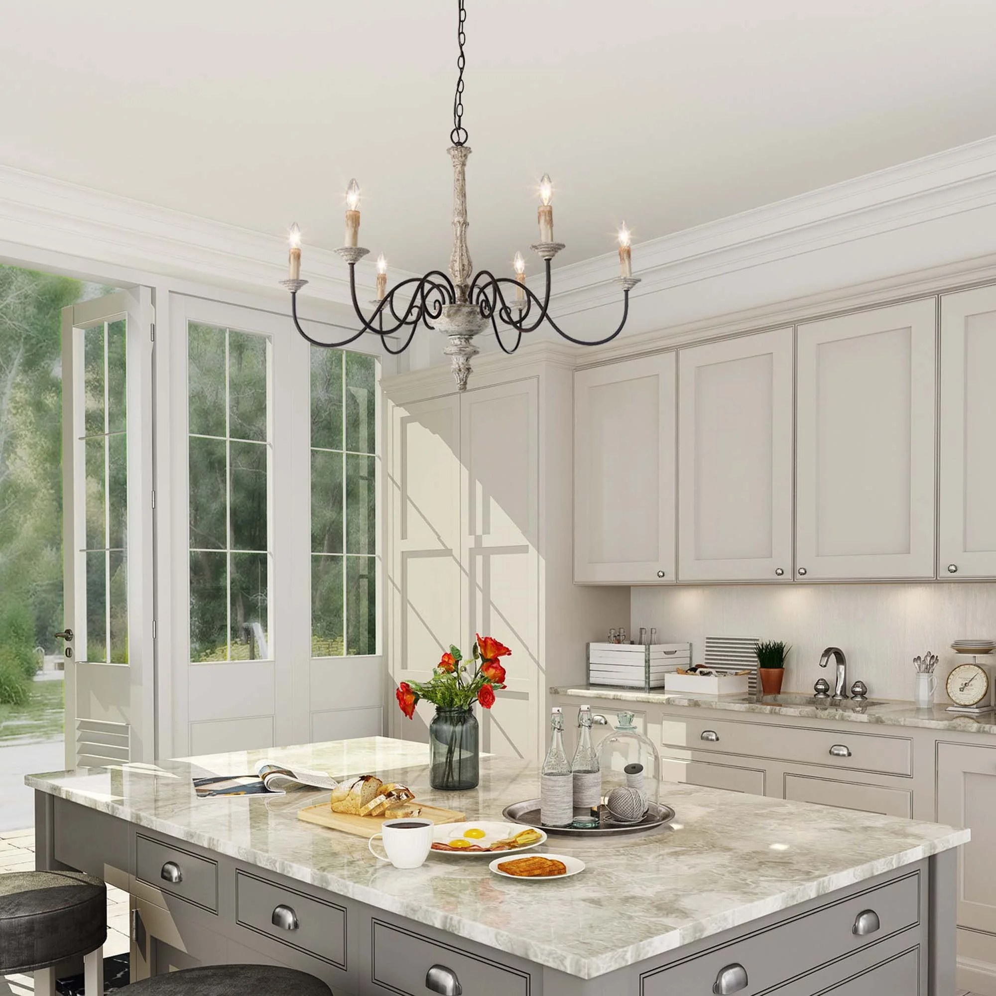 farmhouse 6 light persian white french country chandelier rustic wood island lighting for kitchen d37 h28