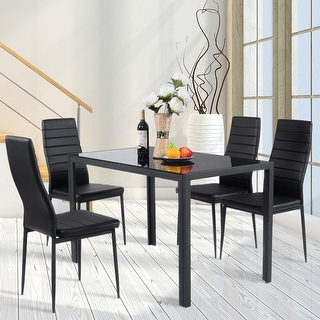 set of chairs lenoir chair company shop costway 5 piece kitchen dining glass metal table and 4 breakfast furniture black free shipping today overstock com 18529767