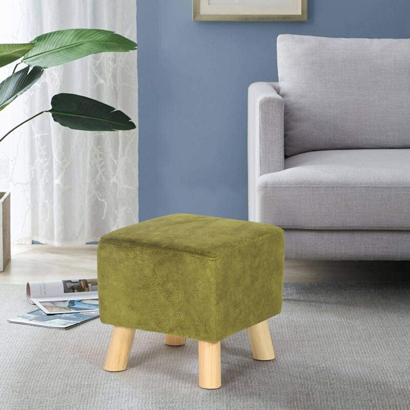 adeco square ottoman foot rest stool small cube velvet footstool
