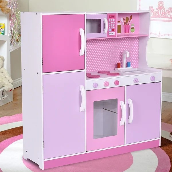 Shop Costway Kids Wood Kitchen Toy Cooking Pretend Play Set Toddler Wooden Playset Gift  Free