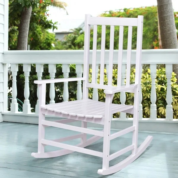 indoor rocking chairs for sale folding chair target shop costway solid wood rocker porch outdoor patio furniture white single