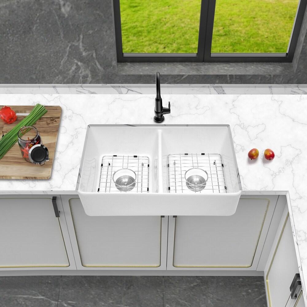 32 inch white porcelain ceramic fireclay farmhouse sink
