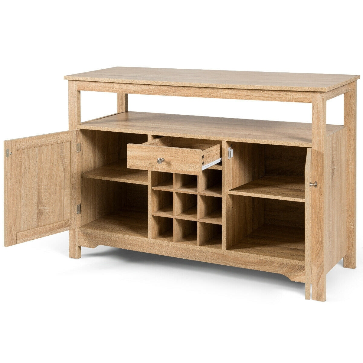 transitional buffet server sideboard with wine storage
