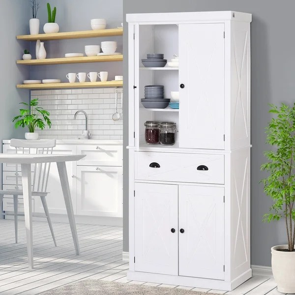 Homcom 6 Foot Wood Farmhouse Colonial Kitchen Pantry Cabinet On Sale Overstock 30696531