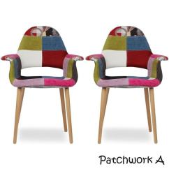 Upholstered Bedroom Chair With Arms Svan Signet High Shop 2xhome Set Of 2 Patchwork Patterned Fabric Vintage Accent Chairs Back Living