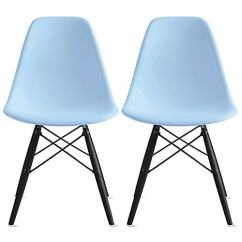 Black Plastic Chair With Wooden Legs Nursing Chairs Uk Shop 2xhome Set Of 2 Blue Dark Wood Dining Free Shipping Today Overstock Com 19874683