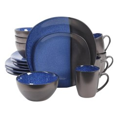 Kitchen Dish Sets Small Counter Lamps Shop Gibson Elite 16 Piece Volterra Reactive Dinnerware Set Blue Grey Free Shipping Today Overstock Com 18705962