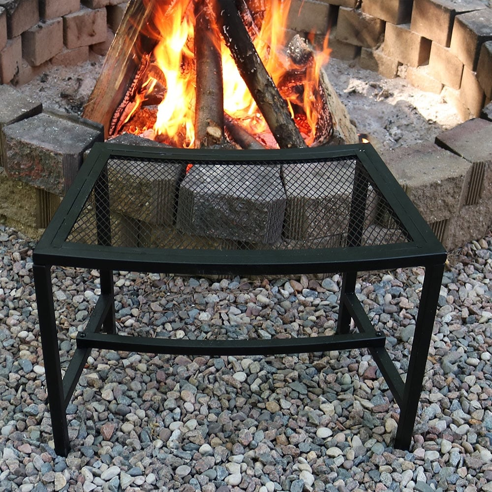 sunnydaze curved black mesh outdoor patio fire pit bench 23 x 16 1 bench