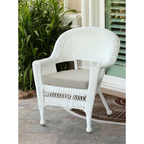 woven plastic garden chairs stackable chair covers shop 36 white resin wicker outdoor patio with tan cushion free shipping today overstock com 16649134