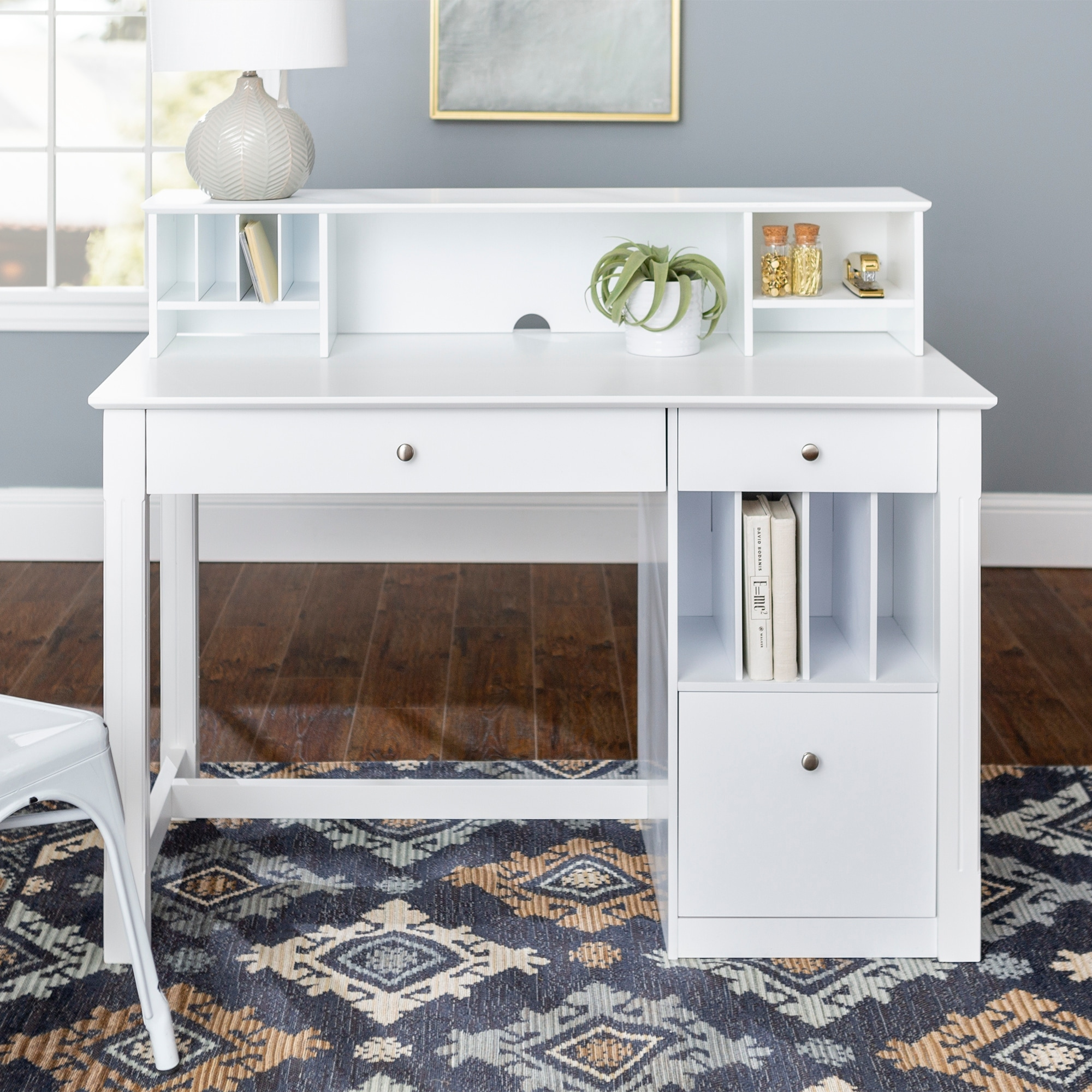 Shop 48 Inch White Computer Storage Desk With Small Hutch On Sale Overstock 4835659