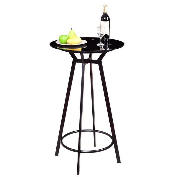 Shop Costway Modern Round Bar Table Glass Top Metal Frame