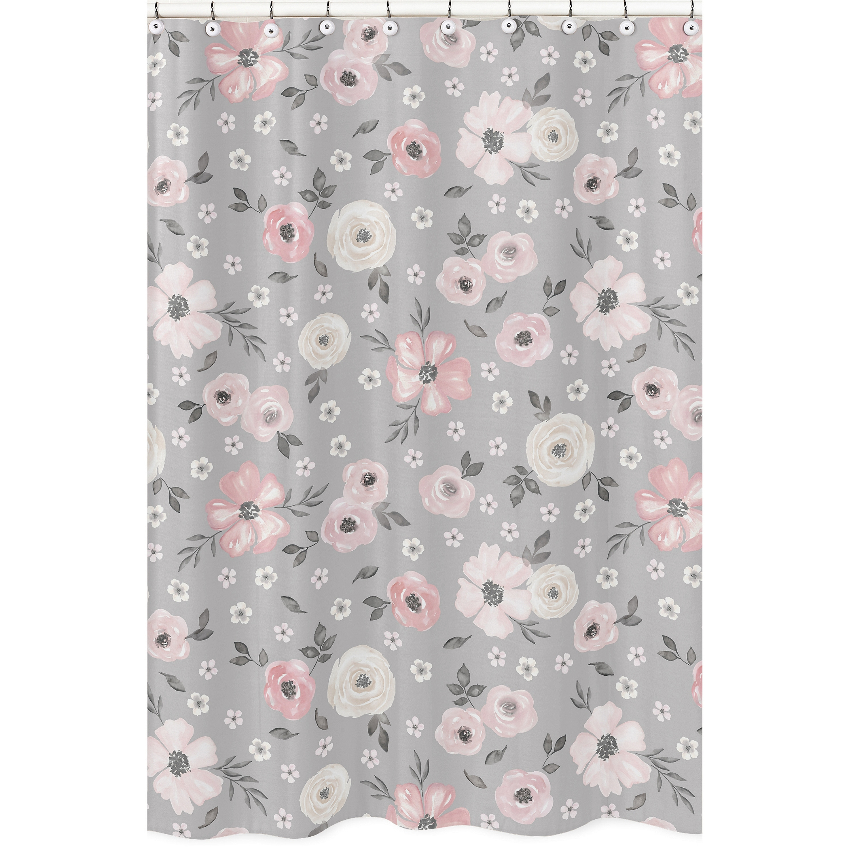 grey watercolor floral collection bathroom fabric bath shower curtain blush pink gray white shabby chic rose flower farmhouse