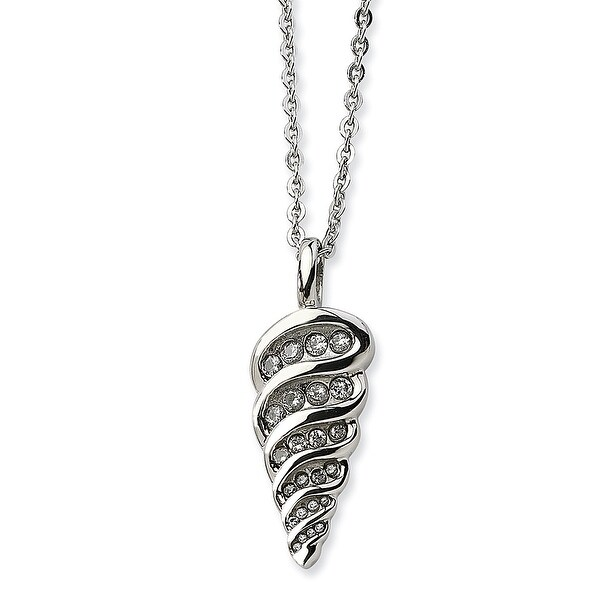 Shop Chisel Stainless Steel Fancy Shell with CZs Pendant