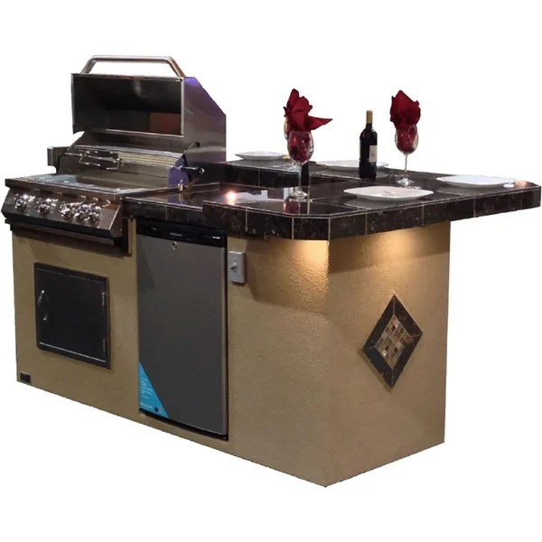 outdoor kitchen bbq sears sinks shop 7 6 st john with high bar island grill free shipping today overstock com 21885475