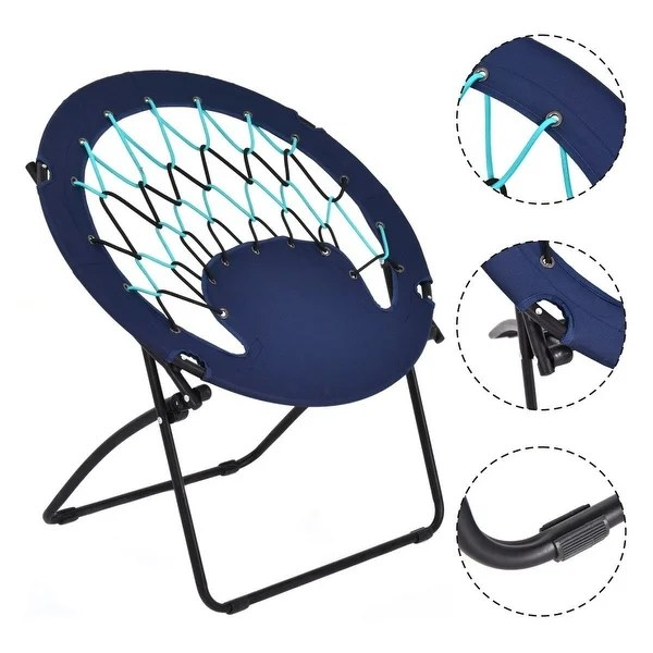 folding circle chairs high chair booster seat shop costway round bungee steel frame outdoor camping hiking garden patio blue