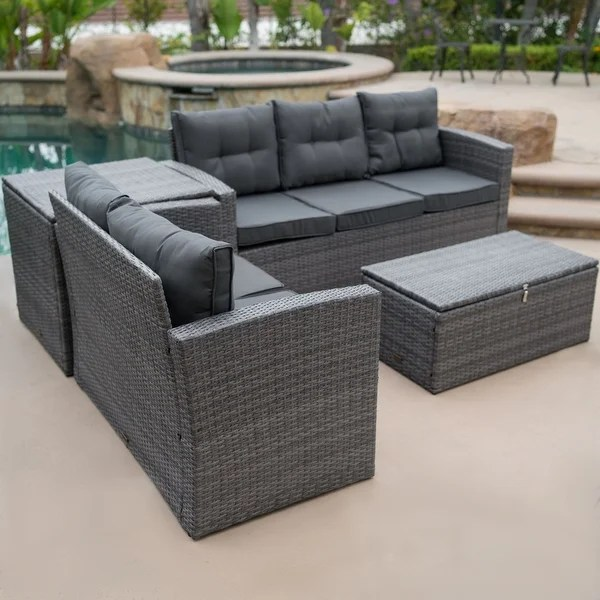 belleze 4pc sectional patio set sofa