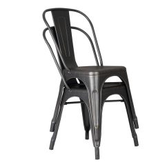 Distressed Black Dining Chairs Faux Leather Chair And A Half Shop Metal 18 Inch Seat Height With Back Set Of 2