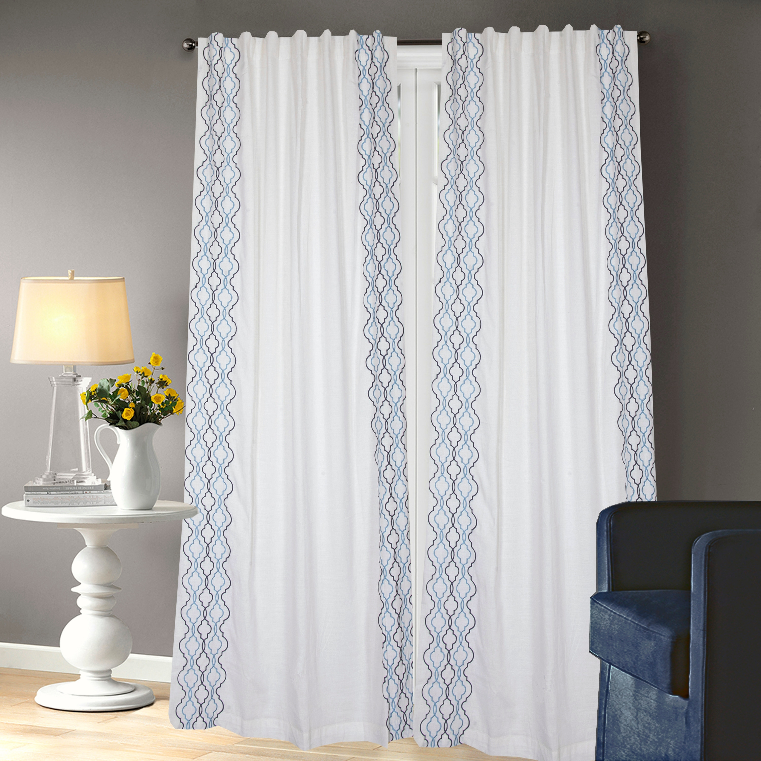 porch den daylily white and blue cotton embroidered curtain panel