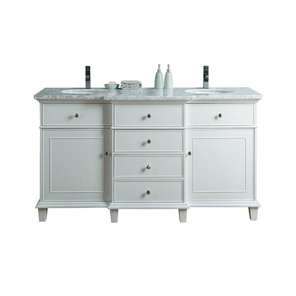 Shop Stufurhome Cadence White 60 Inch Double Sink Bathroom Vanity No Mirror Overstock 31960229
