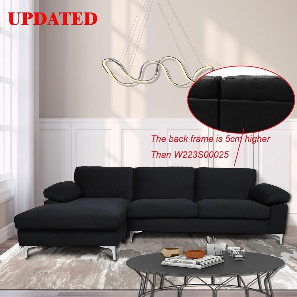 sectional sofa left hand facing black velvet 8 x 10
