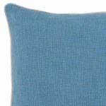 Textured Fabric Throw Pillow With Piped Edges Light Blue And Beige Blue And Beige Overstock 31836527