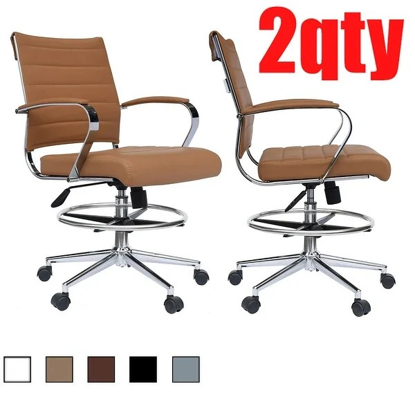 modern drafting chair eames parts shop set of 2 designer ergonomic office with arms ribbed computer brown free shipping today overstock com 27147534