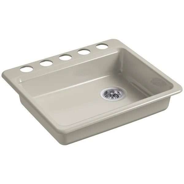 kohler cast iron kitchen sink brown shop k 5479 5u riverby 25 single basin for undermount installations white n a free shipping today overstock com