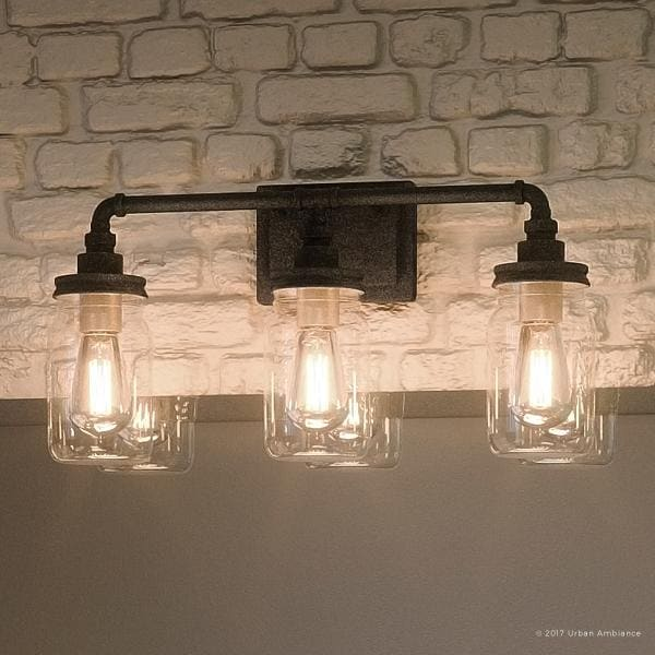 Shop Luxury Industrial Bathroom Light 11 H X 21 5 W With Shabby Chic Style Aged Pipe Design Antique Black Finish Overstock 19478324