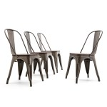 Belleze Bistro Dining Chairs Modern Style Metal Industrial Set Of 4 Wood Seat Restaurant Cafe Bar Stool Stackable Bronze