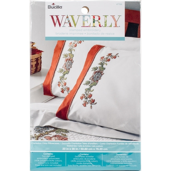 stamped embroidery pillowcase pair 20 x30 waverly charleston chip