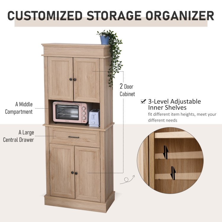 Homcom Traditional Freestanding Kitchen Pantry Cabinet Cupboard With Doors And Shelves Adjustable Shelving Overstock 32265609