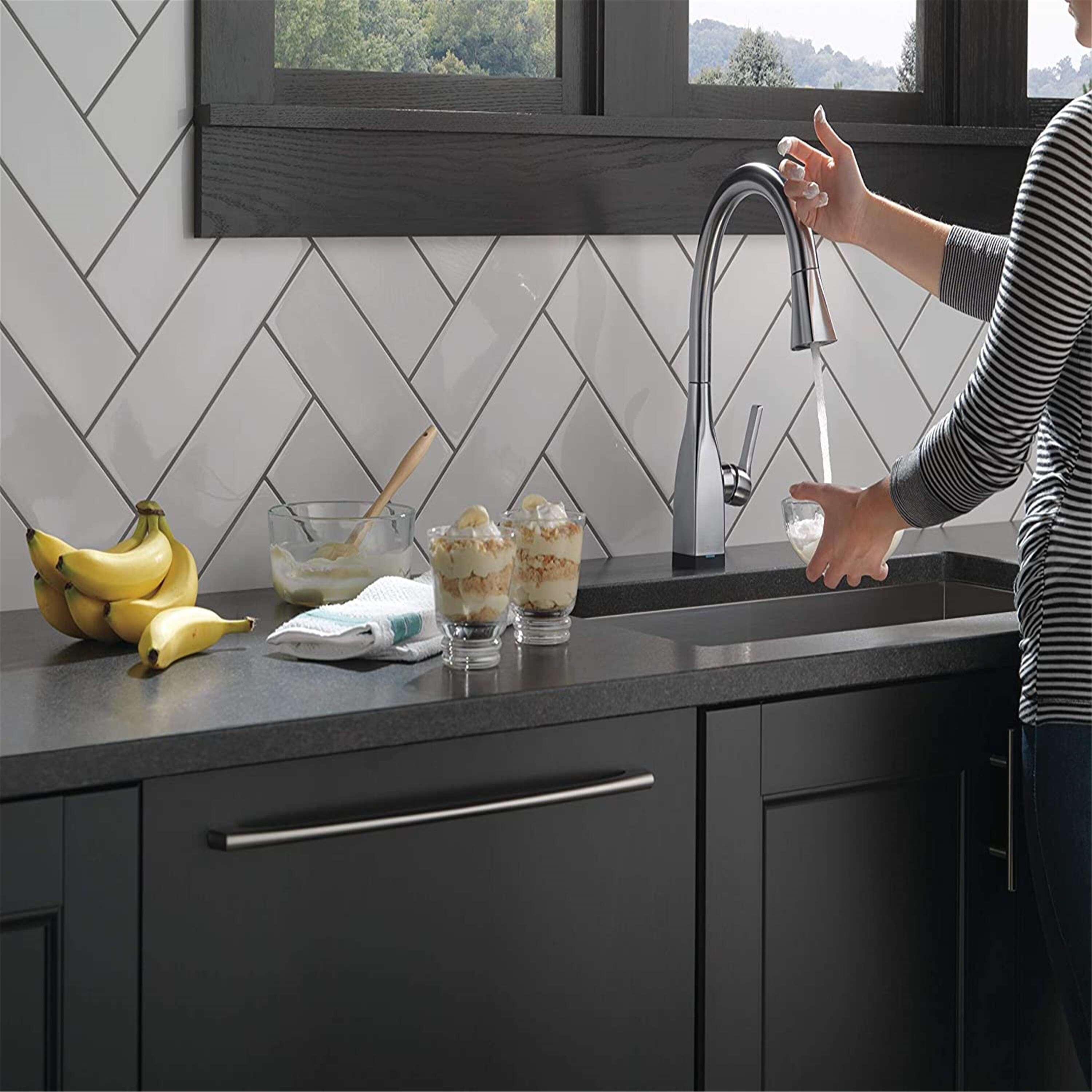 single handle touch kitchen sink faucet with pull down sprayer alexa and google assistant voice activated smart home