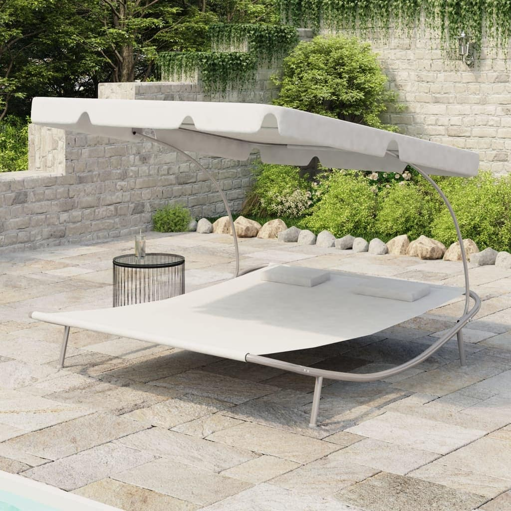 vidaxl outdoor lounge bed with canopy pillows cream white 6 7 x 5 8 x 4 5